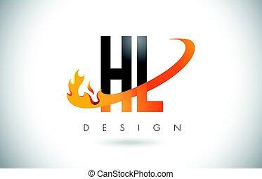 HL H L Letter Logo with Fire Flames Design and Orange...