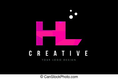 HL H L Letter Logo with Purple Low Poly Pink Triangles...