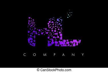 HL H L Letter Logo with Purple Particles and Bubble Dots -...