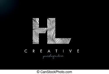 HL H L Letter Logo with Zebra Lines Texture Design Vector. -...