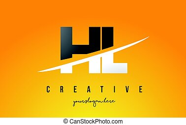 HL H L Letter Modern Logo Design with Yellow Background and...