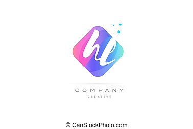 hl h l pink blue rhombus abstract hand written company...