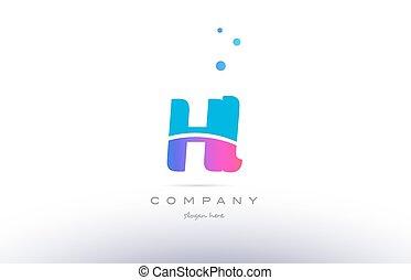 hl h l pink blue white modern alphabet letter logo icon...