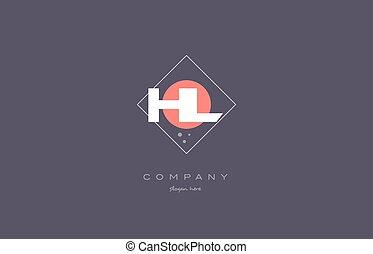 hl h l vintage retro pink purple alphabet letter logo icon...