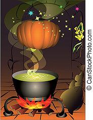 HL Pumpboil - The magic pumpkin is turned above the cauldron...