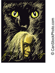 HL Witchcat - The Witch and the Black Cat staring at You