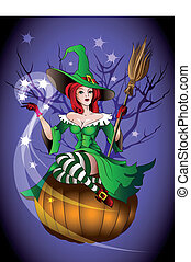 HL Witchpump - The red-haired witch sits with a broom on a...