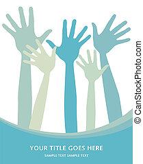 hlasování, ruce, design.