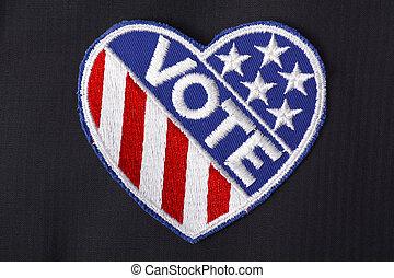 hlasovat, pocket., odznak, usa, kostým