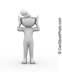 hlavička, deprimovaný, skličující, osoba, nechráněný, 3