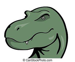 hlavička, dravý, strašný, čelist, dírka, tyrannosaurus