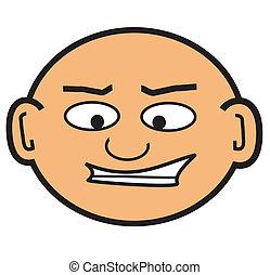 hlavička, holý, karikatura