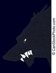 hlavička, ilustrace, polygonal, vektor, čerň, 3d., wolf.