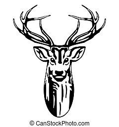 hlavička, jelen