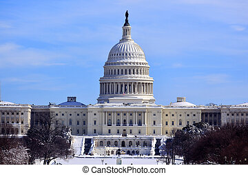 hlavní, kongres, po, washington, báň, nám, sněžit, proud...