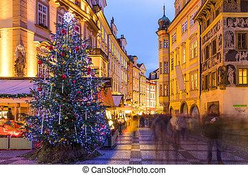hlavní město učinit čtvercovým, dávný, move., národ, čech, praha, rozmazaný, republic., večer, praha, vánoce, obchod