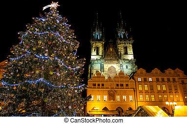 hlavní město učinit čtvercovým, dávný, praha, strom, vánoce