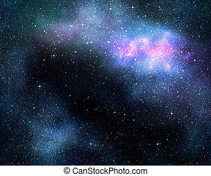 hlubina, mléčná dráha, proložit, nebual, hvězdnatý, vnější