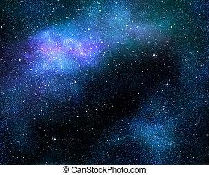 hlubina, mléčná dráha, proložit, vnější, hvězdnatý, mlhovina