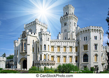Hluboka castle - beautiful landmark in Czech Republic, sunny day