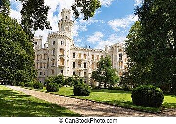 Hluboka Castle in Czech Republic. - Famous white castle...