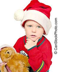 hmmm x-mas gifts? - thinking boy ith bear