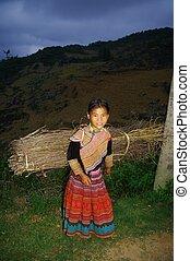 Hmong ethnic girl in the night - Night falls, the 10 year...