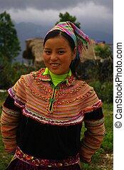 Hmong flowered girl portrait - Hmong flowered girl returning...