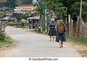 hmong - Hill tribe of Hmong with basket in Tu Le village at...