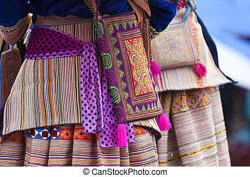 Hmong's costume - BAC HA MARKET, VIETNAM - JULY 5: Close-up...