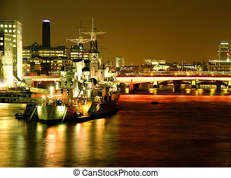 HMS  Belfast - Warship on the river Thames