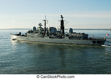 HMS Exeter, British Warship, Leaving Potsmouth Dockyard