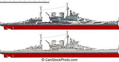 HMS Renown. Battlecruiser of the Royal Navy. - Battlecruiser...