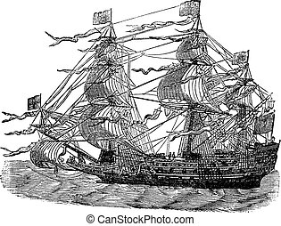 HMS Sovereign of the Seas, vintage engraved illustration