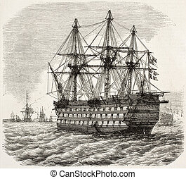 HMS Victory old illustration, Nelson's flagship at the ...