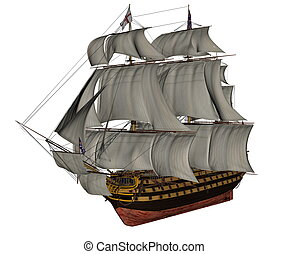 HMS Victory ship - 3D render - Beautiful detailed old HMS ...