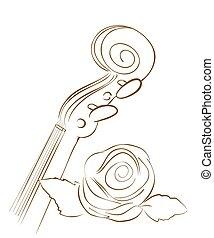 hněď, housle, a, růže, lines., vektor