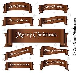 hněď, lesklý, barva, merry christmas, heslo, oblý, lem, standarta, eps10