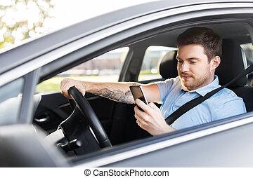 hnací, pouití, vůz, smartphone, voják