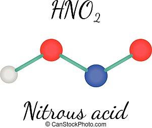 hno2, nitreux, acide, molécule