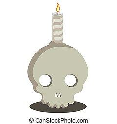 hořící, lebka, svíčka