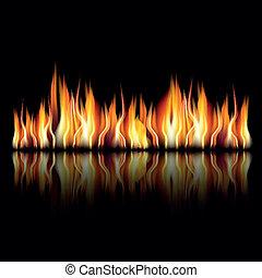 hořící, oheň, oheň, dále, temný grafické pozadí