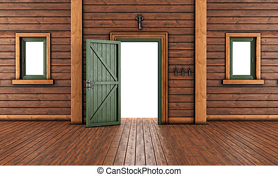 ho, 部屋, 木製である, 空, 入口