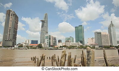 Ho Chi Minh city against the backdrop of the remains of the old pier