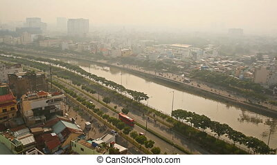 Ho Chi Minh City in the morning mist or fog. Timelapse.