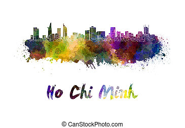 Ho Chi Minh skyline in watercolor splatters with clipping path