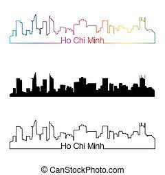 Ho Chi Minh skyline linear style with rainbow in editable...