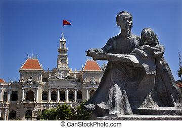 Ho Chi Minh Statue, People\'s Committee Building Saigon Vietnam