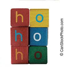 ho ho ho in children's block letters
