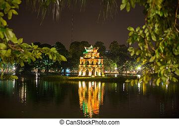 Ho Hoan Kiem, Hanoi, Vietnam, with the Tortoise Tower